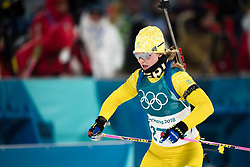 February 12, 2018 - Pyeongchang, SOUTH KOREA - 180212  Mona Brorsson of Sweden competes in the Women's Biathlon 10km Pursuit during day three of the 2018 Winter Olympics on February 12, 2018 in Pyeongchang..Photo: Jon Olav Nesvold / BILDBYRN / kod JE / 160156 (Credit Image: © Jon Olav Nesvold/Bildbyran via ZUMA Press)