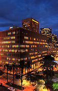 night shot of Wells Fargo building in downtown Phoenix, AZ