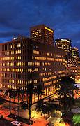 night shot of Wells Fargo building in downtown Phoenix, AZ