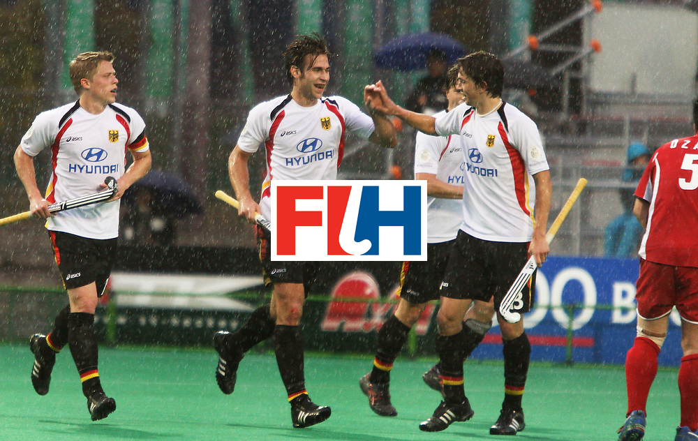 Kakamigahara (Japan): Chritopher Zeller celebrates his second goal with his team mates in the match against Japan at the Olympic Hockey Qualifier at Gifu Perfectural Green Stadium at Kakamigahara on 10 April 2008. Germany beat Japan 4-0.  Photo: GNN/ Vino John