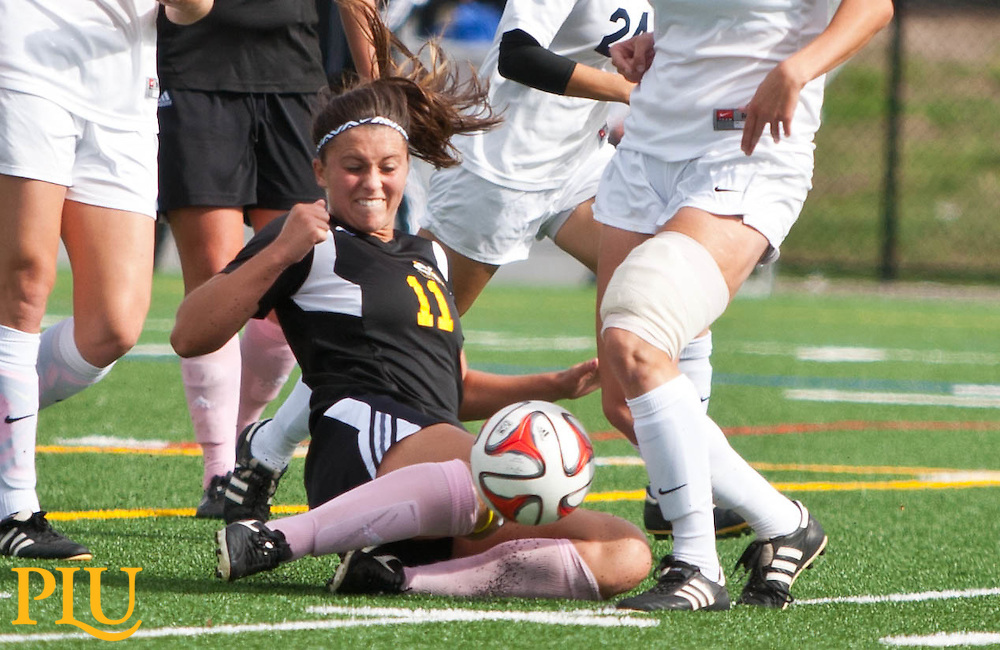 PLU's Kaylie Rozell in action against Whitman in a women's soccer game at PLU on Saturday, Oct. 18, 2014. (Photo/John Froschauer)