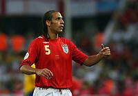 Photo: Chris Ratcliffe.<br /> Sweden v England. FIFA World Cup 2006. 20/06/2006.<br /> Rio Ferdinand of England.