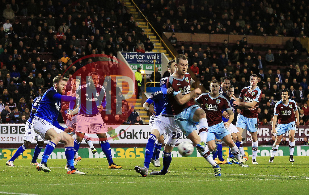 Burnley's Ashley Barnes fires a shot at goal  - Mandatory by-line: Matt McNulty/JMP - 05/04/2016 - FOOTBALL - Turf Moor - Burnley, England - Burnley v Cardiff City - SkyBet Championship