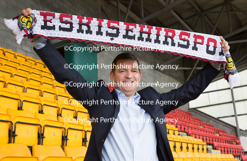 St Johnstone Chairman Steve Brown pictured with an Eskisehirpsor scarf<br /> <br /> Picture by Graeme Hart.<br /> Copyright Perthshire Picture Agency<br /> Tel: 01738 623350  Mobile: 07990 594431