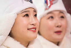 February 11, 2018 - Pyeongchang, South Korea - Awards ceremony participants wait for the venue ceremony at the Womens Moguls finals Sunday, February 11, 2018 at Phoenix Snow Park at the Pyeongchang Winter Olympic Games.  Photo by Mark Reis, ZUMA Press/The Gazette (Credit Image: © Mark Reis via ZUMA Wire)