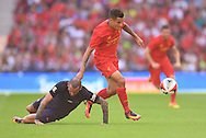 Philippe Coutinho of Liverpool and Aleix Vidal of FC Barcelona during the International Champions Cup match at Wembley Stadium, London<br /> Picture by Andrew Timms/Focus Images Ltd +44 7917 236526<br /> 06/08/2016