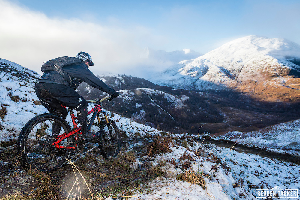 A rider descends stage one of the Kinlochleven Enduro.