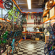 The demo storage and in-house testing area for Santa Cruz Bicycles world headquarters in Santa Cruz, California.
