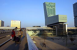 LILLE , FRANCE - FEB-22-2003 - Lille , France has been named the 2004 European Capital of Culture. Modern architecture - Lille-Europe International train station - rail station - railway station. (PHOTO © JOCK FISTICK)