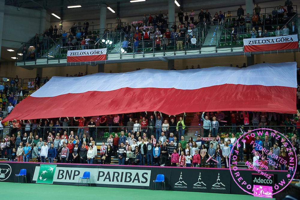 Polish supporters during the Fed Cup / World Group Play Off tennis match between Poland and Switzerland on April 18, 2015 in Zielona Gora, Poland<br /> Poland, Zielona Gora, April 18, 2015<br /> <br /> Picture also available in RAW (NEF) or TIFF format on special request.<br /> <br /> For editorial use only. Any commercial or promotional use requires permission.<br /> <br /> Adam Nurkiewicz declares that he has no rights to the image of people at the photographs of his authorship.<br /> <br /> Mandatory credit:<br /> Photo by &copy; Adam Nurkiewicz / Mediasport