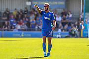 AFC Wimbledon defender Nesta Guinness-Walker (18) pointing during the EFL Sky Bet League 1 match between AFC Wimbledon and Bristol Rovers at the Cherry Red Records Stadium, Kingston, England on 21 September 2019.