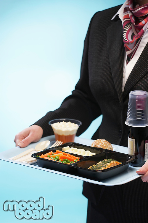 Stewardess holding tray with airplane food mid section
