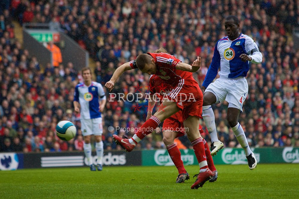 LIVERPOOL, ENGLAND - Sunday, April 13, 2008: Liverpool's Fabio Aurelio in action against Blackburn Rovers during the Premiership match at Anfield. (Photo by David Rawcliffe/Propaganda)