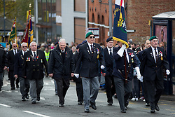 @Licensed to London News Pictures 13/11/2016. Maidstone, Kent. Veteran members of the British Armed Forces march to the war memorial for the Remembrance Day Service in Maidstone, Kent. Photo credit: Manu Palomeque/LNP