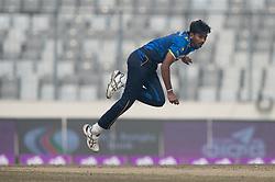 January 25, 2018 - Dhaka, Dhaka, Bangladesh - Sri Lankan fast bowler Dushmantha Chameera bowling follow through during the 6th ODI match in the Tri-series between Sri Lanka vs Bangladesh at the Sher-e-Bangla National Cricket Stadium in Mirpur, Dhaka on 25th  January 2018. (Credit Image: © Sameera Peiris/Pacific Press via ZUMA Wire)