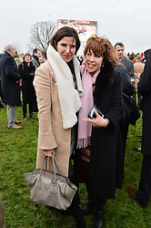 Left to right, RONNI ANCONA and KATHY LETTE at the 2015 Hennessy Gold Cup held at Newbury Racecourse, Berkshire on 28th November 2015.