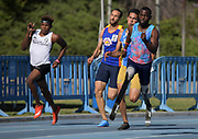 Apr 14, 2018; Los Angeles, CA, USA; Paralympic athlete Patrick Blake Leeper wears prosthetic legs while winning the 400m in 45.75 during the Rafer Johnson/Jackie joyner-Kersee Invitational at Drake Stadium.