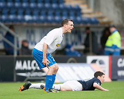 Morton's David Robertson brings down Falkirk's Conor McGrandles for their first penalty.<br /> Falkirk 1 v 1 Morton, Scottish Championship game today at The Falkirk Stadium.<br /> &copy; Michael Schofield.