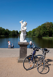 Sculpture beside lake in gardens beside Schloss Charlottenburg palace in Berlin 2009