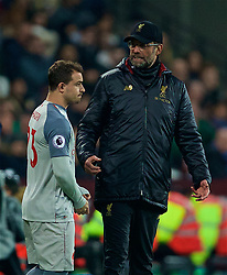 LONDON, ENGLAND - Monday, February 4, 2019: Liverpool's manager Jürgen Klopp prepares to bring on substitute Xherdan Shaqiri during the FA Premier League match between West Ham United FC and Liverpool FC at the London Stadium. (Pic by David Rawcliffe/Propaganda)