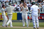 Shane Watson celebrates the wicket of Mark Boucher during the 2nd day of the 1st test match between South Africa and Australia held at Sahara Park Newlands Stadium,Cape Town, South Africa on the 10th November 2011..Photo by Ron Gaunt/SPORTZPICS