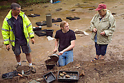 SAVEOCK WATER, CORNWALL, ENGLAND - AUGUST 03: A view from the front of archaeologist Jacqui Wood, her team and students on August 3, 2008 in Saveock Water, Cornwall. They are excavating a Mesolithic platform. (Photo by Manuel Cohen)