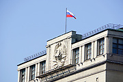 Russian flag on top of the State Duma of Russian Federation Building, Moscow