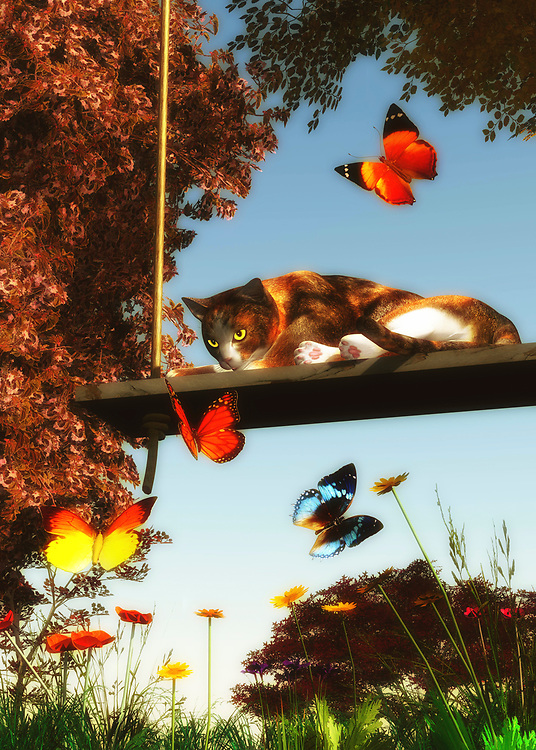 On a warm summer afternoon, a cat sits lazily on a swing. However, their eyes are bright and alert with the array of dazzling butterflies that are in front of them. The cat even looks like it might break its languid, relaxed position to chase them. This piece is deeply evocative of a lazy day in which there is very little to do. Yet the spirit is restless. Or at the very least, the spirit is deeply aware of the quiet beauty that is inherent in their surroundings. This art is available as wall art, a t-shirt, or in the form of many different interior products.