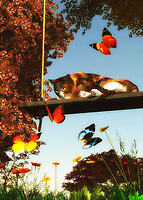 On a warm summer afternoon, a cat sits lazily on a swing. However, their eyes are bright and alert with the array of dazzling butterflies that are in front of them. The cat even looks like it might break its languid, relaxed position to chase them. This piece is deeply evocative of a lazy day in which there is very little to do. Yet the spirit is restless. Or at the very least, the spirit is deeply aware of the quiet beauty that is inherent in their surroundings. This art is available as wall art, a t-shirt, or in the form of many different interior products. .<br />
