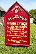 St Sennen parish church sign, Land's End,  Cornwall, England, UK