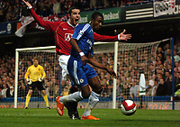 Photo: Tony Oudot.<br /> Chelsea v Manchester United. The Barclays Premiership. 09/05/2007.<br /> John O'Shea of Man Utd protests to the linesman as he is fouled by Salomon Kalou of Chelsea