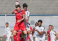 Nikolaj Hansen (FC Helsingør) og Drew Conner (Bridges FC) under træningskampen mellem FC Helsingør og Bridges FC den 17. juli 2019 på Herfølge Stadion (Foto: Claus Birch)