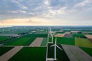Nederland, Flevoland, Zeewolde, 05-08-2014; Prinses Alexia windpark, voorheen windpark De Zuidlob. Het windmolenpark is een initiatief van lokale boeren en Nuon - Vattenfall. <br /> Prinses Alexia wind farm. The wind farm in the polder Flevoland is an initiative of local farmers and Nuon - Vattenfall. <br /> luchtfoto (toeslag op standard tarieven); aerial photo (additional fee required); copyright foto/photo Siebe Swart