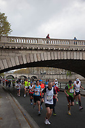 France. Paris. 4th district.  Marathon on Pompidou highway along the seine river. sunday without car on the voie express along   the seine river in the 4th area