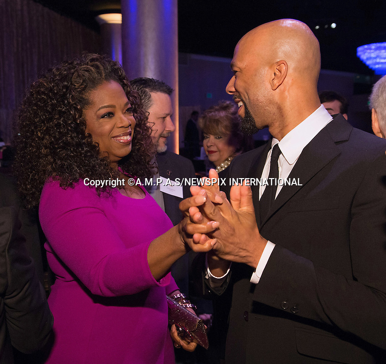 02.02.2015; Beverly Hills, California: 87TH OSCAR NOMINEES LUNCHEON - OPRAH WINFREY AND COMMON<br /> Oscar Nominees attended the annual Nominees Luncheon that honours this year's contenders for the Oscars at the Beverly Hilton, Beverly Hills, Los Angeles<br /> Awards for outstanding film achievements of 2014 will be presented on Oscar Sunday, February 22, 2015, at the Dolby Theatre&reg; at Hollywood &amp; Highland Center&reg;, Los Angeles.<br /> Mandatory Photo Credit: &copy;Harbaugh/Newspix International<br /> <br />               **ALL FEES PAYABLE TO: &quot;NEWSPIX INTERNATIONAL&quot;**<br /> <br /> PHOTO CREDIT MANDATORY!!: NEWSPIX INTERNATIONAL(Failure to credit will incur a surcharge of 100% of reproduction fees)<br /> <br /> IMMEDIATE CONFIRMATION OF USAGE REQUIRED:<br /> Newspix International, 31 Chinnery Hill, Bishop's Stortford, ENGLAND CM23 3PS<br /> Tel:+441279 324672  ; Fax: +441279656877<br /> Mobile:  0777568 1153<br /> e-mail: info@newspixinternational.co.uk