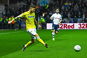 Mateusz Klich of Leeds United (43) passes the ball during the EFL Sky Bet Championship match between Preston North End and Leeds United at Deepdale, Preston, England on 9 April 2019.