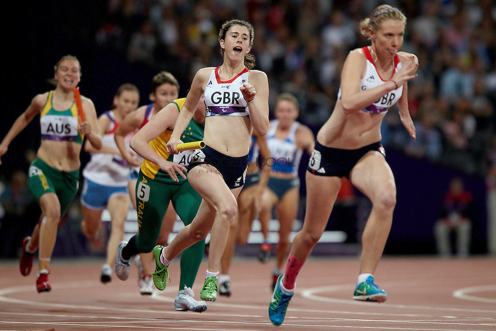 Olivia Breen and Bethany Woodward along with Katrina Hart and  Jenny McLoughlin take the Bronze medal in the Women's 4 x 100 meter relay T35-38 at the Olympic Stadium on day 6 of the London 2012 Paralympic Games. 4th September 2012.
