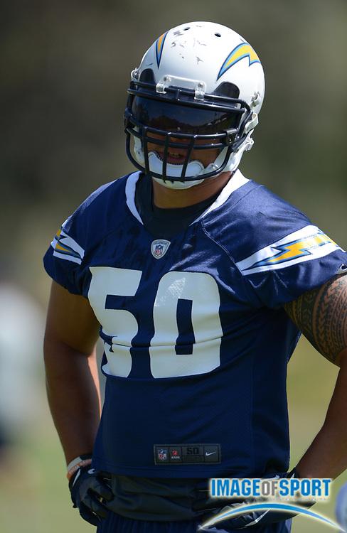 Jun 12, 2013; San Diego, CA, USA; San Diego Chargers linebacker Manti Te'o (50) at minicamp at Chargers Park.