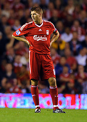 A dejected Steven Gerrard during the Barclays Premier League match between Liverpool and Aston Villa at Anfield on August 24, 2009 in Liverpool, England.