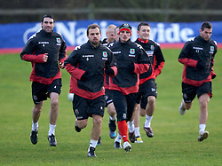 CHESTER, ENGLAND - Monday, February 4, 2008: Wales' L-R Craig Morgan, Carl Fletcher and Jason Joumas during training at the Carden Park Hotel ahead of their friendly match against Norway. (Photo by David Rawcliffe/Propaganda)