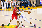 Golden State Warriors forward Kevin Durant (35) drives to the basket against the Houston Rockets during Game 6 of the Western Conference Finals at Oracle Arena in Oakland, Calif., on May 26, 2018. (Stan Olszewski/Special to S.F. Examiner)