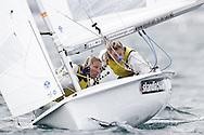 ENGLAND, Weymouth. 9th August 2011. Pre Olympic Test Event. Saskia Clark, (left) and Hannah Mills, GBR, 470 Dinghy.