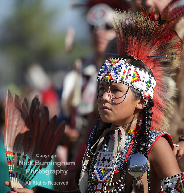 SAN BERNARDINO, CALIFORNIA, USA, OCTOBER 13, 2012.  The San Manuel Band of Indians hold their annual Pow Wow in San Bernardino on October 13, 2012. Dances include the Northern Contemporary, Northern Traditional, Chicken Dance, Southern Straight, Grass, Northern Fancy and Southern Fancy dances. <br />