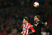 Atletico Madrid's Spanish forward Fernando Torres heads the ball during the Spanish Cup, Copa del Rey quarter final, 1st leg football match between Atletico Madrid and Sevilla FC on January 17, 2018 at Wanda Metropolitano stadium in Madrid, Spain - Photo Benjamin Cremel / ProSportsImages / DPPI