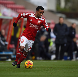 Swindon Town's Nathan Byrne in action during the Sky Bet League One match between Swindon Town and Chesterfield at The County Ground on January 17, 2015 in Swindon, England. - Photo mandatory by-line: Paul Knight/JMP - Mobile: 07966 386802 - 17/01/2015 - SPORT - Football - Swindon - The County Ground - Swindon Town v Chesterfield - Sky Bet League One
