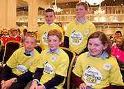 Ethan Roche, Newtown National School, Abbeyknockmoy, James Clancy Ardvarney National School Dromahair Co Leitrim  and front row James Devaney St Patrick's National Calry, Sligo, John Ryan St Brendan's National school Westport, and Shauna Mullen St Mary's Primary School Strokestown Roscommon at the Eason Spelling Bee in the Hotel Meyrick, Galway from where Ryan Tubridy's show was broadcast . Photo:Andrew Downes..