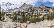 Dingleberry Lake panorama, in John Muir Wilderness, Inyo National Forest, Sierra Nevada, California, USA. In the Bishop Creek watershed, enjoy a scenic hike from Lake Sabrina to beautiful Blue Lake, Emerald Lakes, and Dingleberry Lake. The good trail is 8.5 miles round trip with 1850 feet cumulative gain. (Beyond Dingleberry Lake, the trail splits to Midnight Lake and Hungry Packer Lake.) This panorama was stitched from 7 overlapping photos.
