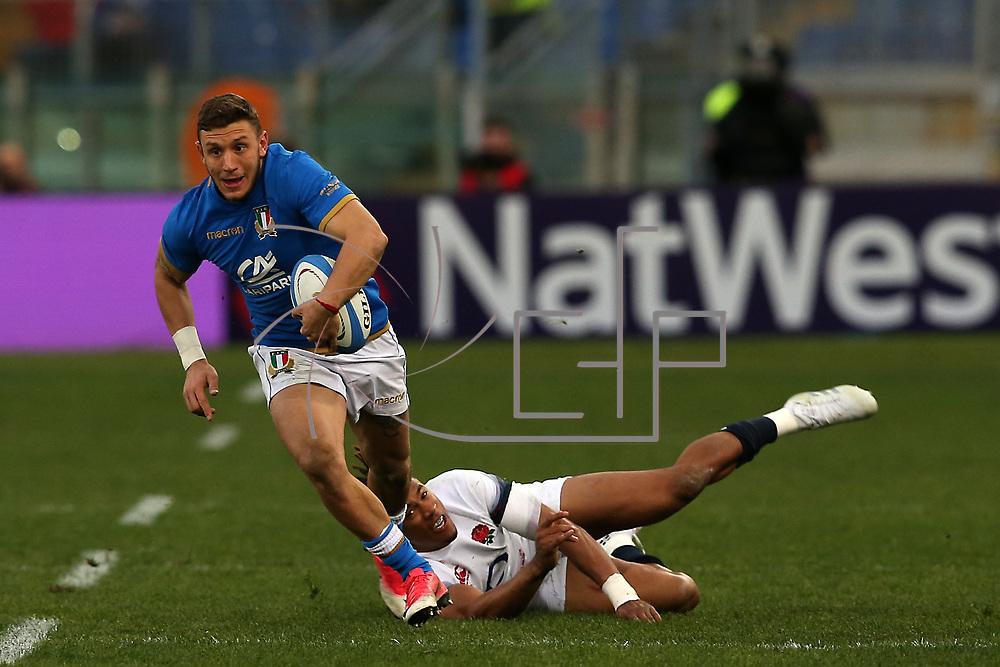 Rome 04/02/2018 Stadio Olimpico<br /> Natwest 6 nations 2018<br /> England v Italy<br /> <br /> Matteo Minozzi in azione