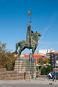 Equestrian statue of Vimara Peres Count of Portugal ca 820 - 873 by Barata Feyo 1968 in Porto. Portugal.