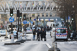 © Hugo Michiels Photography. 07/01/2016. France, Paris. A heavy armed police precence can be seen in the Barbes area, Northern Paris after police shot a man dead who threatened officers with a knife and suicide belt what they now know to be fake. Today January 7th 2016. Photo credit: Hugo Michiels
